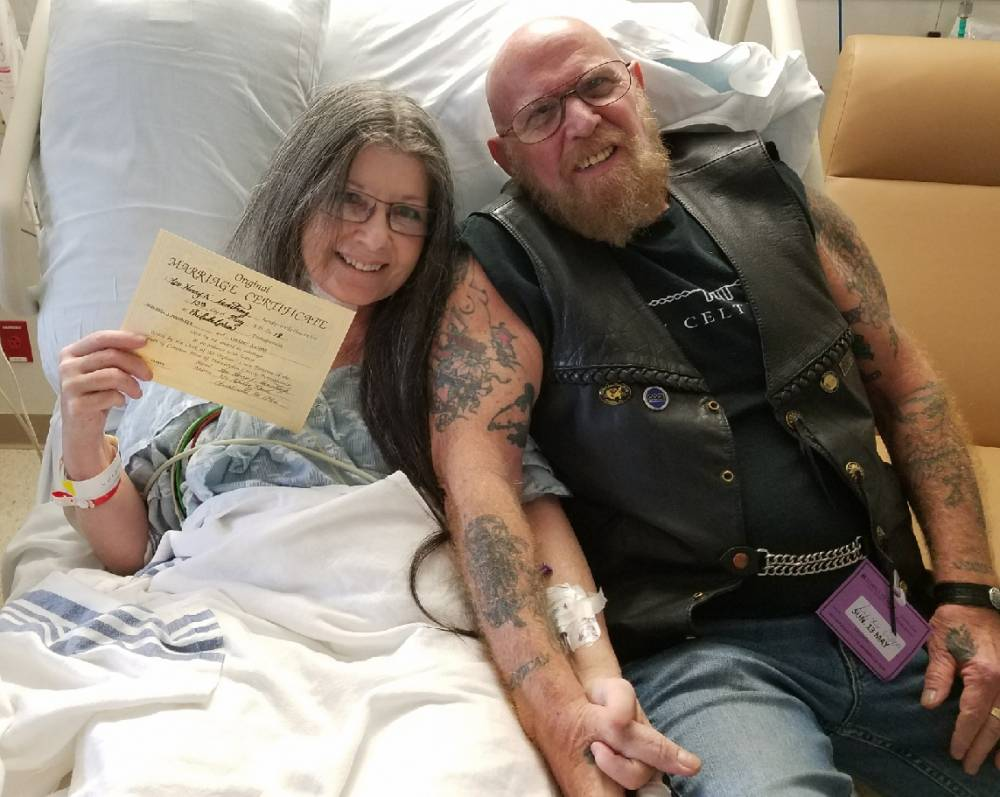 couple getting married in the hospital