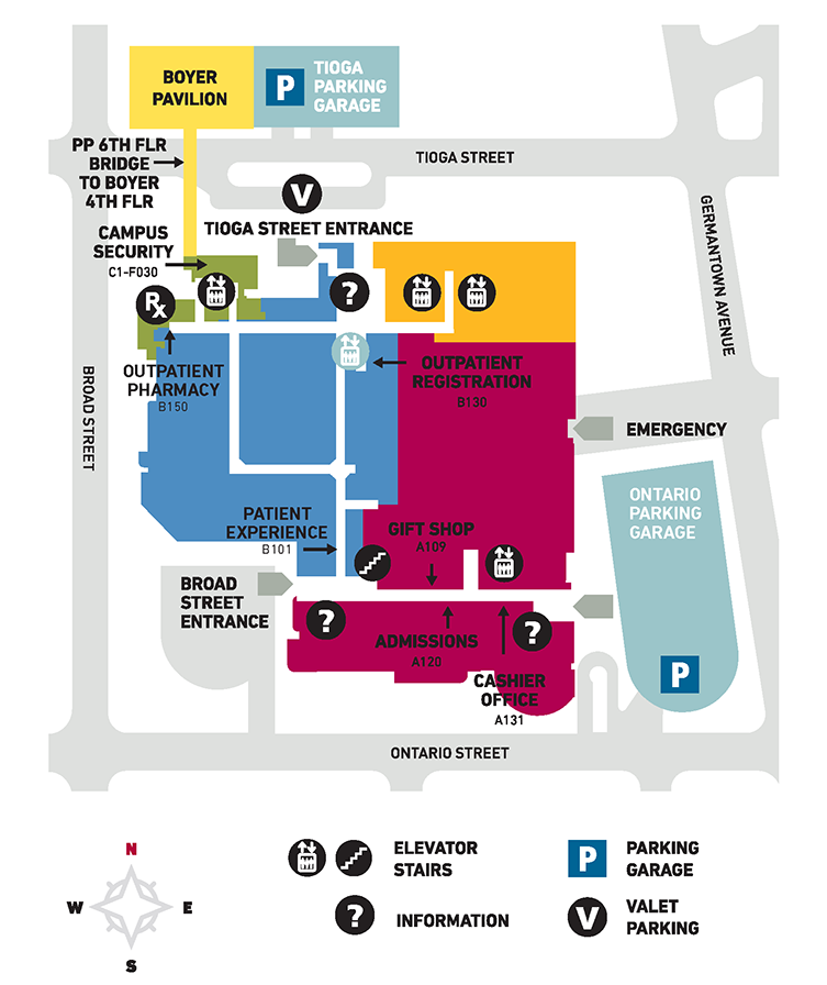 A campus map of Temple University Hospital