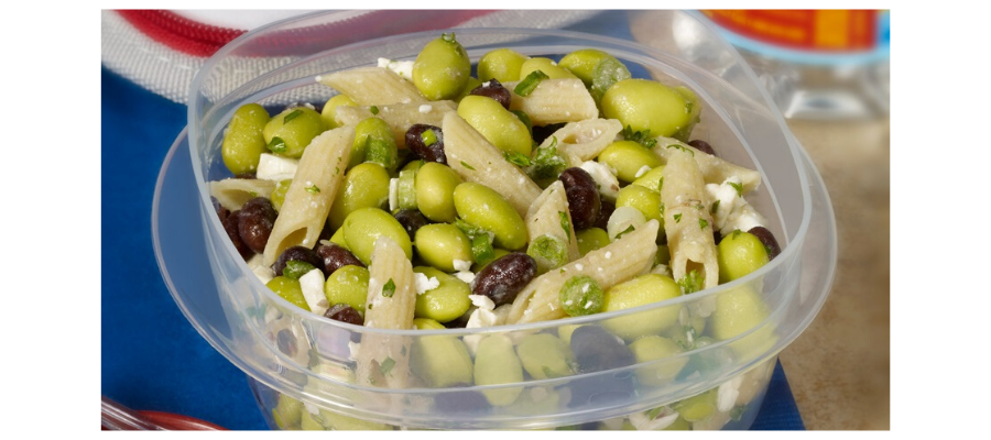 Edamame and penne salad with feta