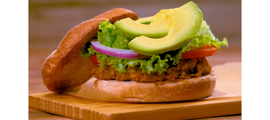 White bean and quinoa burgers with avocado