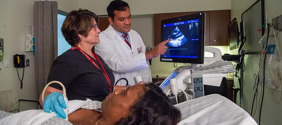 Dr. Patil explains Allison's echocardiogram results