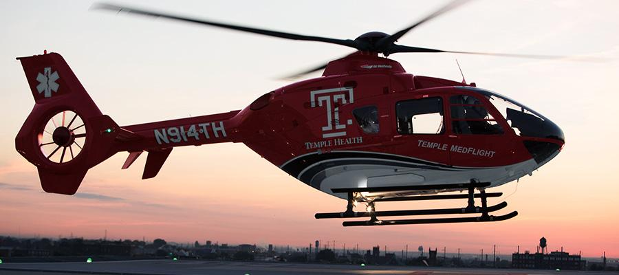 Temple emergency helicopter taking off