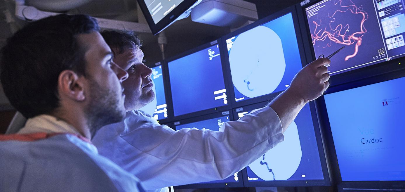 Temple neurologists examining neurons on a monitor