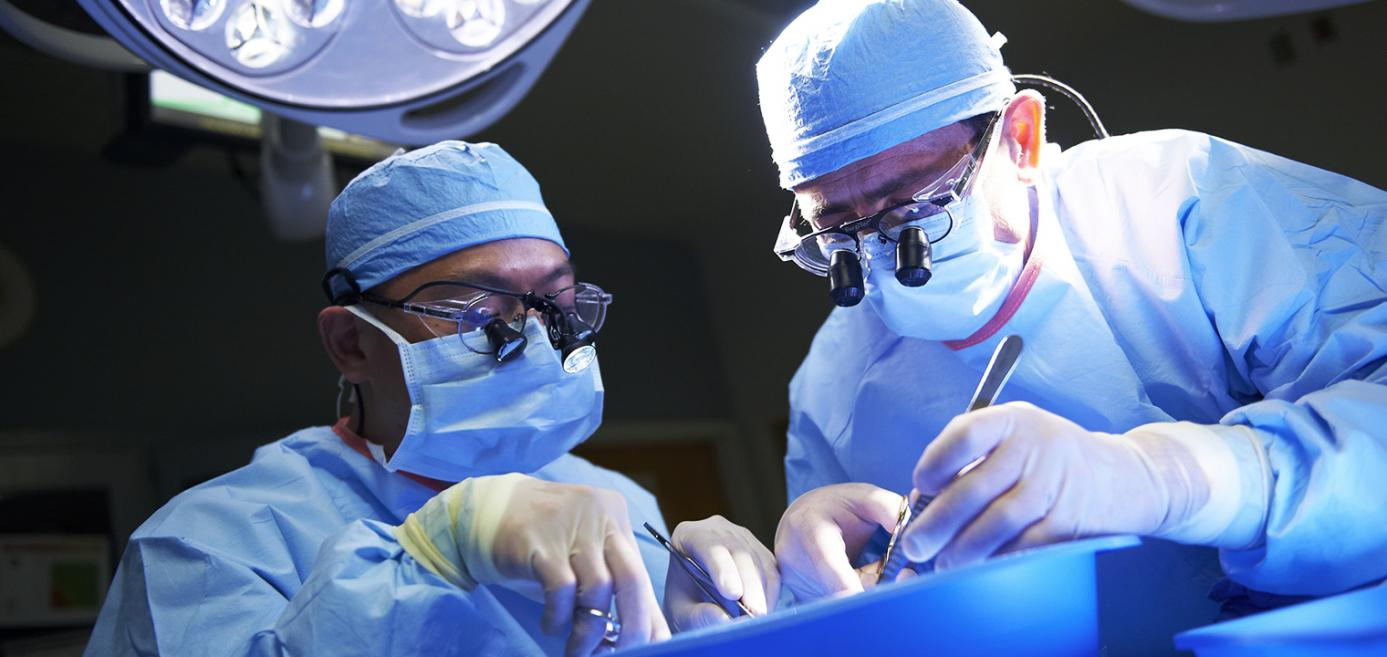 Two physicians working together in the operating room