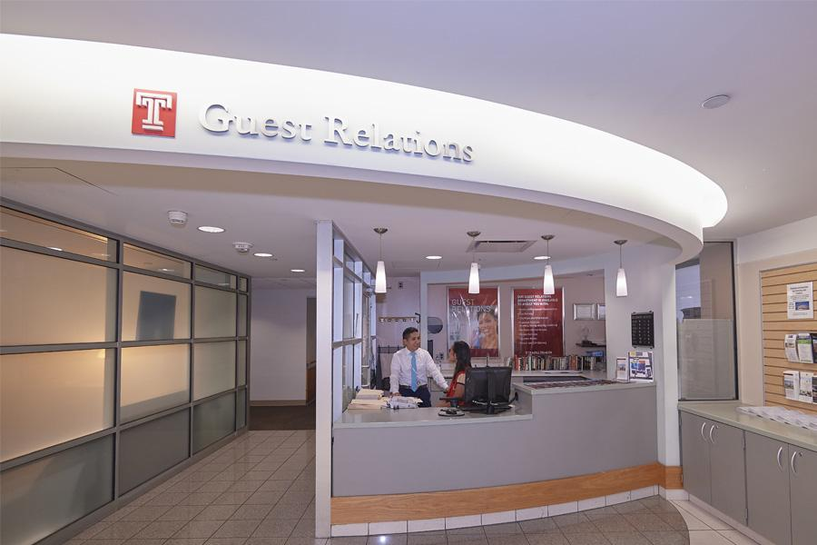 Guest Relations desk at Temple University Hospital