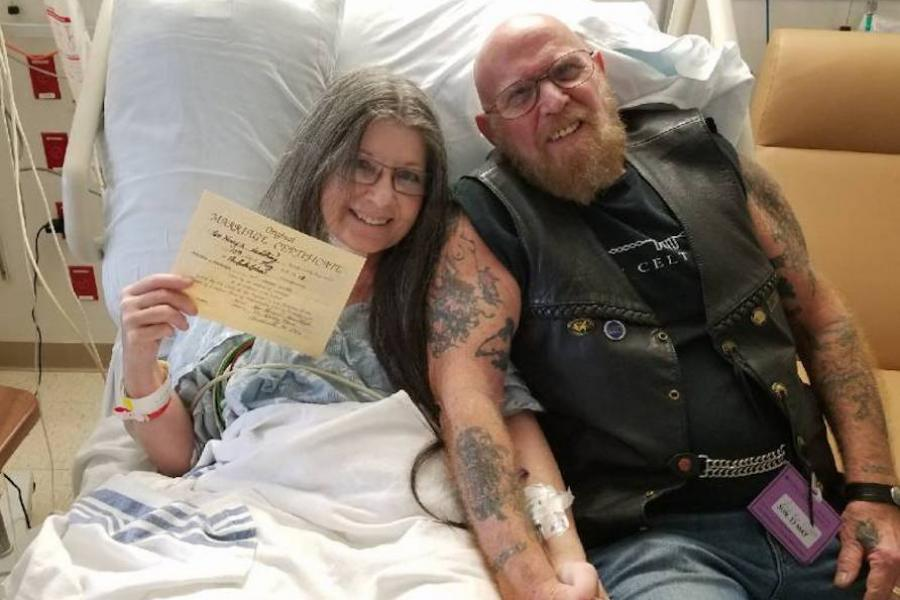 "Temple patient Colleen and Mick as husband and wife moments after saying ""I Do"" in the ICU."