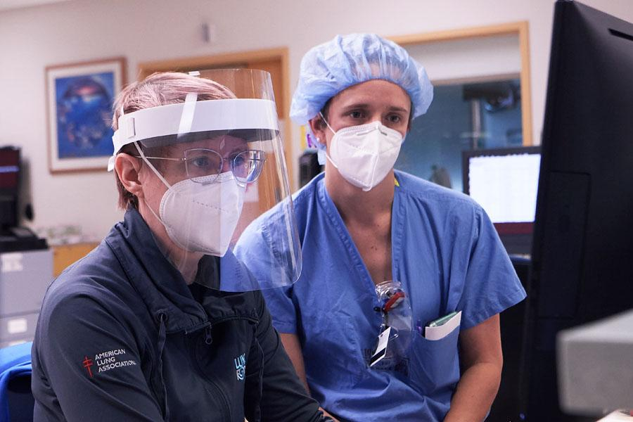 Hospital staff wearing appropriate PPE