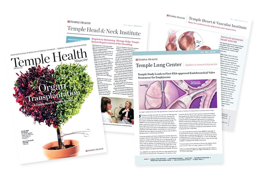 Temple Health publication covers