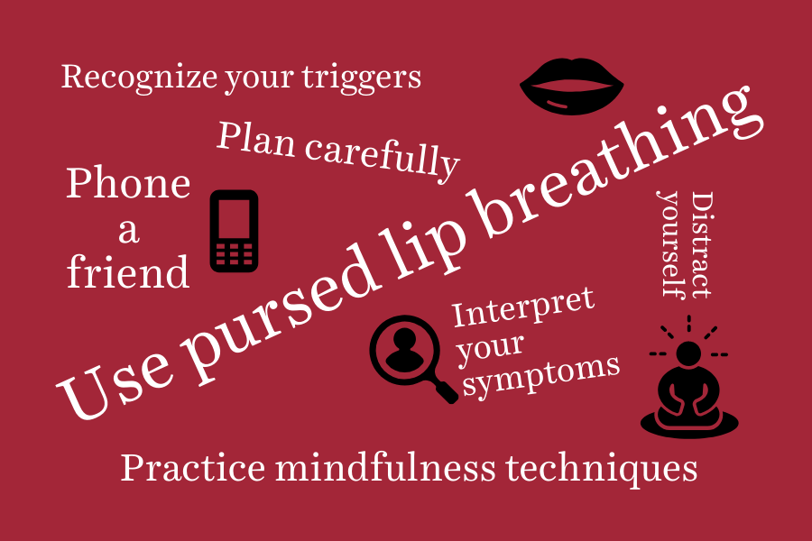 Word cloud with ways to calm anxiety if you have COPD