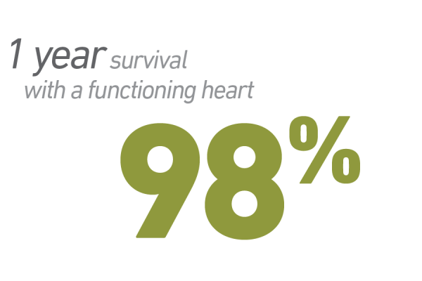 98% have 1 year survival with functioning heart