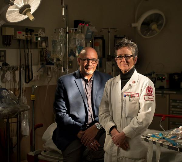 Temple University Hospital Trauma Outreach Coordinator Scott Charles and Dr. Amy J. Goldberg, Chair and Professor of Surgery at the Lewis Katz School of Medicine at Temple University and Surgeon-in-Chief of Temple University Health System