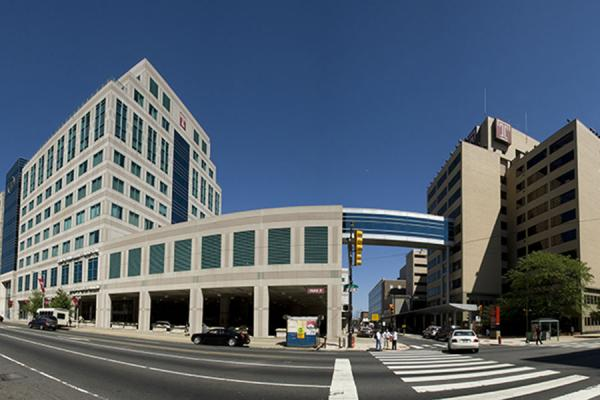 Panoramic shot of outside of Lewis Katz School of Medicine