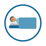 Sick in bed icon