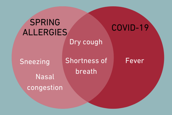 Compare symptoms of spring allergies with COVID-19